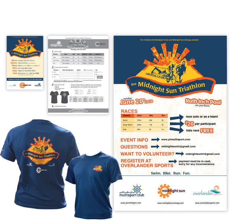 Poster, registration form, advertising, map, and t-shirt design for the annual Midnight Sun Triathlon