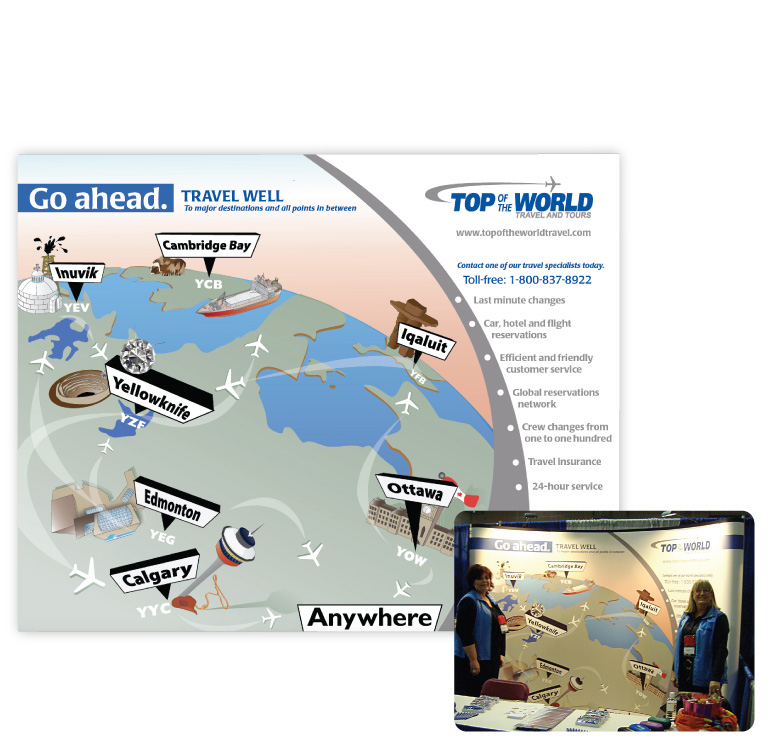 Design and illustration of pop-up trade show display for Top of the World Travel